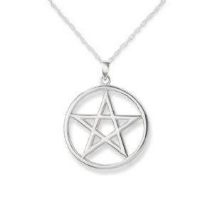 Pentagram Stainless Steel Circle Pendant 9646